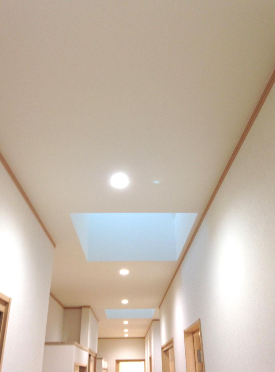 長い廊下には部分的にトップライトがあり、明るさを確保