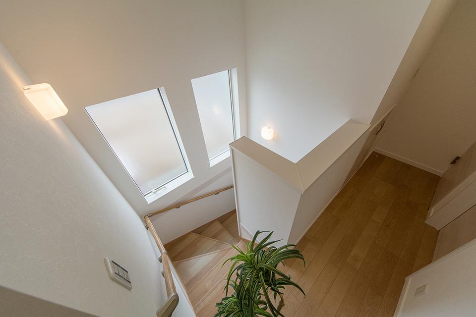 横に並んだ大きな窓から自然のやさしい光が降り注ぎ、明るく開放感のある階段スペースに。