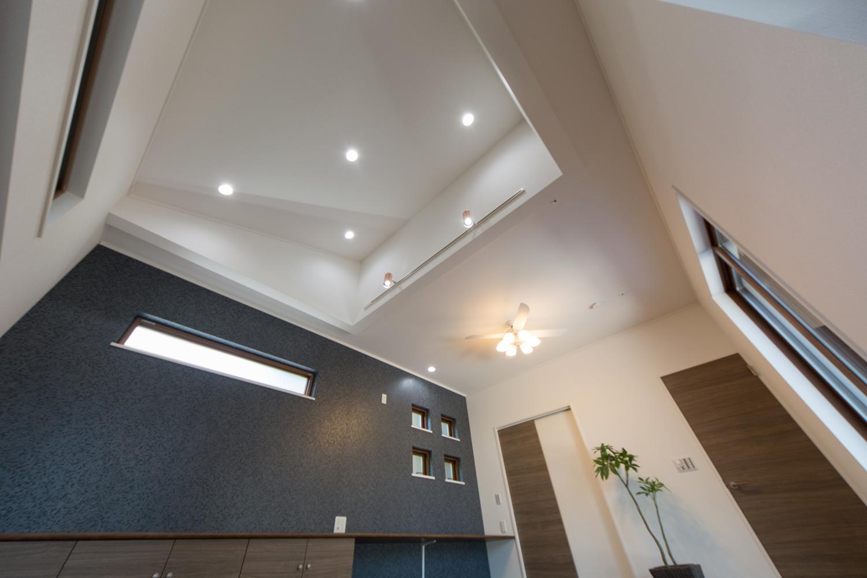 屋根の傾斜を利用した勾配天井に、ダウンライトとトップライトを配置してより開放感のある空間へとデザインしました。