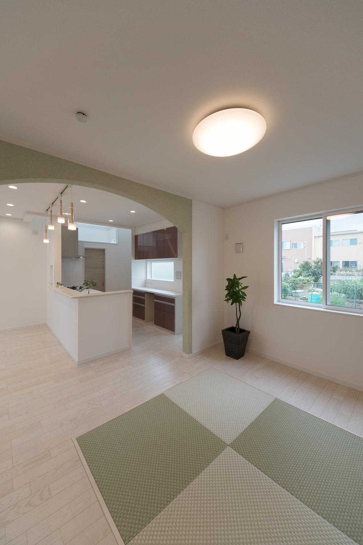 グリーンの畳とアーチ型の下り壁が空間のアクセントになっています。