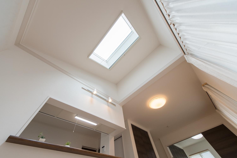 勾配天井に天窓を設えた光のあふれるダイニング。明るく開放感のある空間に。