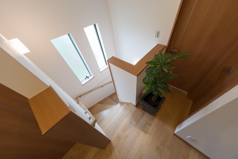 2連に窓を設置し、通風も採光も良く開放感ある階段に。