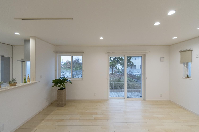南側に大きめの窓を配置することで、自然の光を採り入れ明るさを確保し、照明はダウンライトをメインに。
