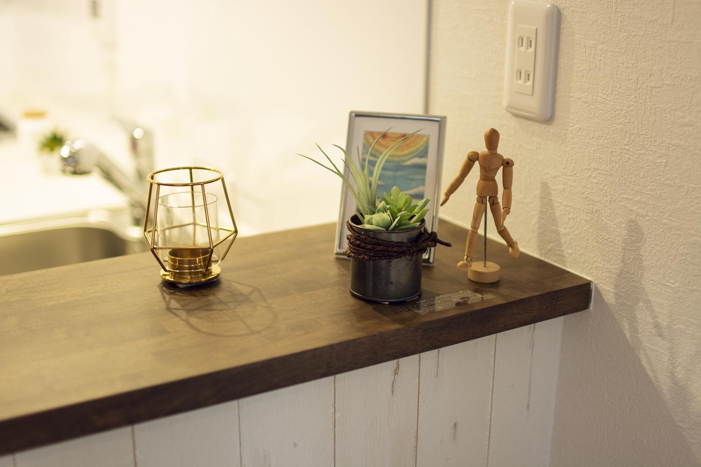 キッチンサイドのカウンターにはアイテムを飾ったりインテリアも楽しめます♪