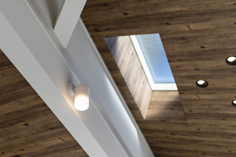 勾配天井にトップライトを設え、空間に自然のやさしい光を取り込みます。