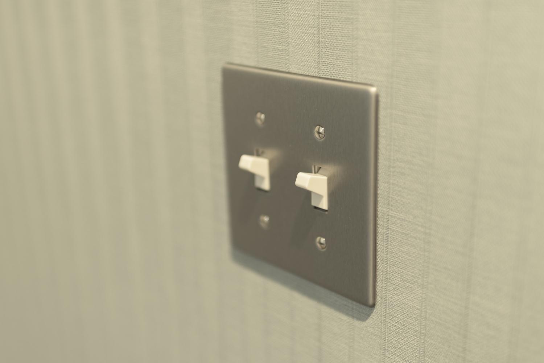 照明スイッチにもこだわりを!各お部屋にアメリカンスイッチを設置しました。