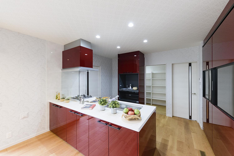 眺望や家族との会話も楽しめる開放感が心地よいキッチン。洗練されたデザインのペニンシュラ型でインテリアとしての美しさも魅力的。